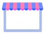 カフェ風の青とピンクの屋根のお店フレーム飾り枠イラスト