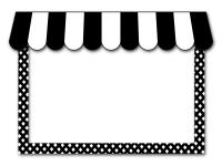 カフェ風の屋根のお店の白黒フレーム飾り枠イラスト