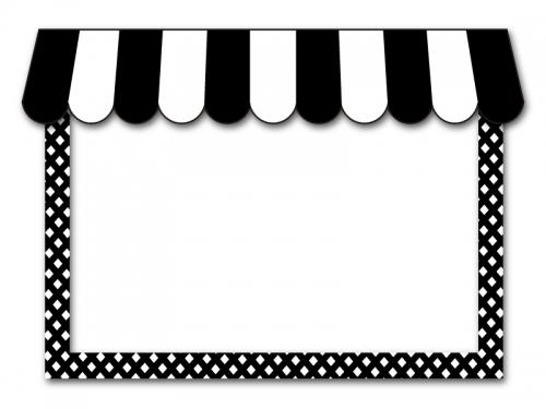 カフェ風の屋根のお店の白黒フレーム飾り枠イラスト 無料イラスト