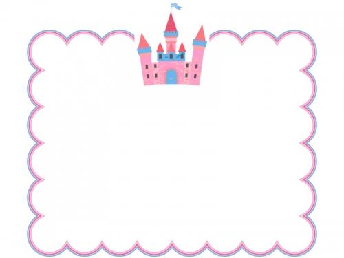 かわいいお城のもこもこ四角フレーム飾り枠イラスト
