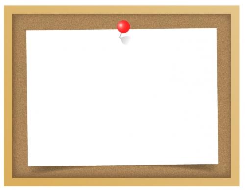 コルクボードと赤いピンを刺した紙のフレーム飾り枠イラスト
