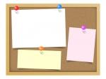 コルクボードとピンでとめた3枚の紙のフレーム飾り枠イラスト