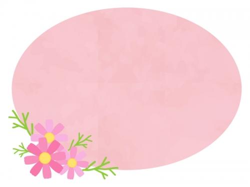コスモスとピンクの楕円のフレーム飾り枠イラスト