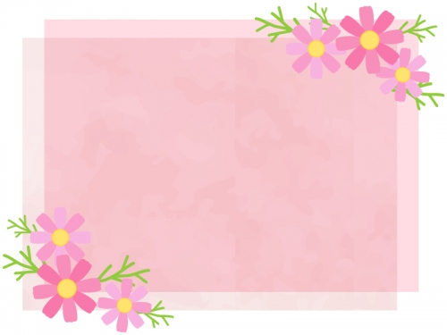 コスモスと重ねたピンクの紙のフレーム飾り枠イラスト