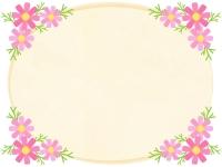 四隅のコスモスとクリーム色のフレーム飾り枠イラスト