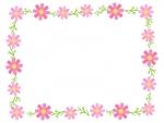 コスモスの花と葉の囲みフレーム飾り枠イラスト