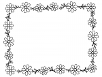 コスモスの花と葉の囲み白黒フレーム飾り枠イラスト
