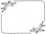 コスモスの白黒点線フレーム飾り枠イラスト