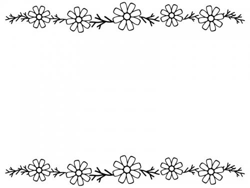 コスモスの上下白黒フレーム飾り枠イラスト