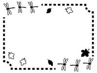 秋・とんぼと落ち葉の白黒点線フレーム飾り枠イラスト