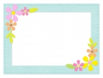 お花飾りのふんわりフェルト風緑色フレーム飾り枠イラスト