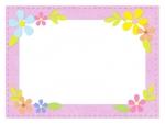 お花飾りのふんわりフェルト風ピンク色フレーム飾り枠イラスト