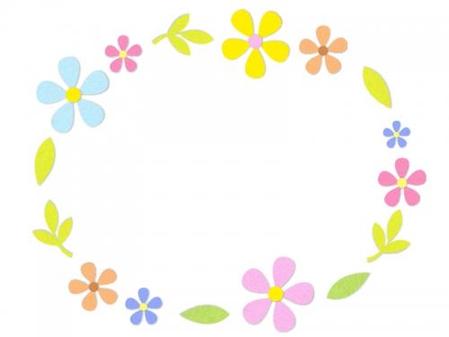 フェルトの花の楕円フレーム飾り枠イラスト 無料イラスト かわいい