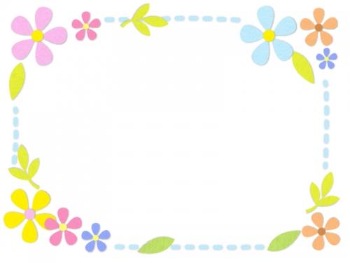 フェルトの花の水色点線フレーム飾り枠イラスト 無料イラスト かわいい