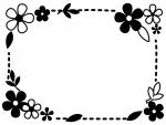 白黒の小花と葉っぱの点線フレーム飾り枠イラスト