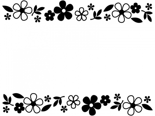 白黒の小花と葉っぱの上下フレーム飾り枠イラスト
