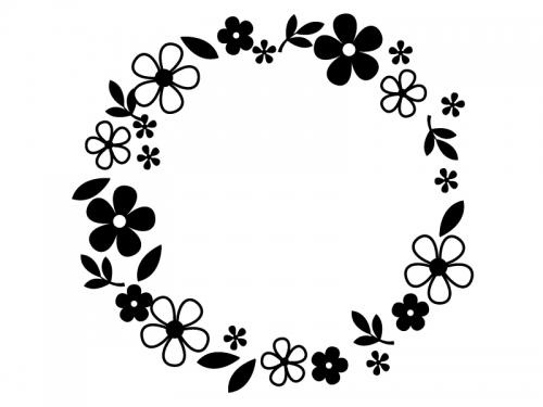 白黒の小花と葉っぱのリースのフレーム飾り枠イラスト