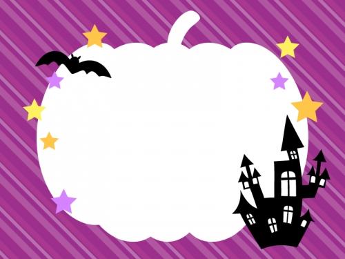 かぼちゃの紫色斜めストライプ・ハロウィンフレーム飾り枠イラスト
