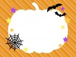 かぼちゃのオレンジ色斜めストライプ・ハロウィンフレーム飾り枠イラスト