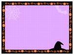 ハロウィン・黒枠パープルドット模様のフレーム飾り枠イラスト