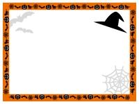 ハロウィン・オレンジ色枠のフレーム飾り枠イラスト