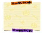 ハロウィンのマスキングテープとメモ用紙のフレーム飾り枠イラスト