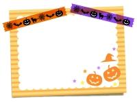 ハロウィンのマスキングテープとメモ用紙のフレーム飾り枠イラスト02