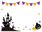 ハロウィン・フラッグガーランドとお城のフレーム飾り枠イラスト