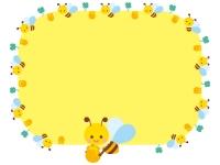 かわいいみつばちの黄色囲みフレーム飾り枠イラスト