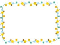 かわいいみつばちの囲みフレーム飾り枠イラスト