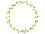 かわいいみつばちの円形フレーム飾り枠イラスト