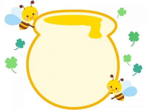 蜂蜜ポットとかわいいみつばちのフレーム飾り枠イラスト