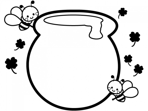 蜂蜜ポットとかわいいみつばちの白黒フレーム飾り枠イラスト 無料