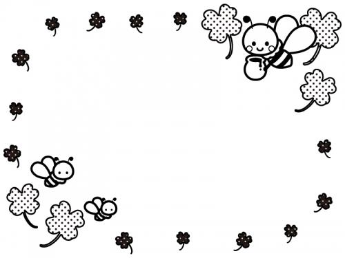 かわいいみつばちとクローバーの白黒フレーム飾り枠イラスト