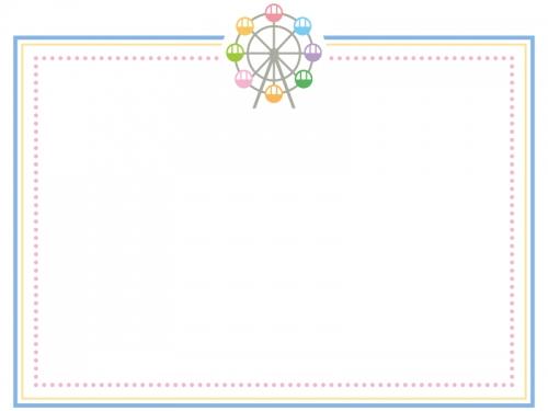 観覧車のカラフルな四角フレーム飾り枠イラスト
