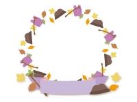 敬老の日の紫色の見出し付き円形フレーム飾り枠イラスト