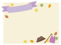 敬老の日・紫色の見出し付きクリーム色モコモコフレーム飾り枠イラスト