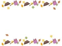 敬老の日・帽子と落ち葉の上下フレーム飾り枠イラスト