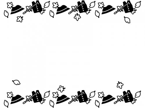 敬老の日・帽子と落ち葉の上下白黒フレーム飾り枠イラスト