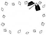 敬老の日・落ち葉の囲み白黒フレーム飾り枠イラスト