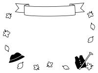 敬老の日・落ち葉と見出し付きの白黒フレーム飾り枠イラスト