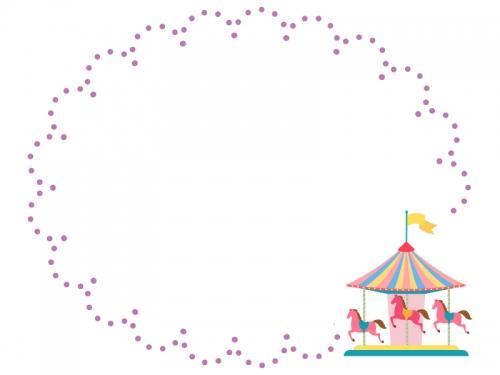 メリーゴーランドと紫色の点線もこもこフレーム飾り枠イラスト