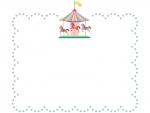 メリーゴーランドとグレーの点線もこもこフレーム飾り枠イラスト