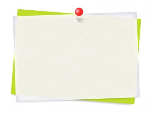 赤いピンでとめた重なった斜めの用紙フレーム飾り枠イラスト