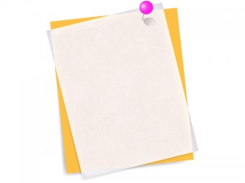 ピンク色のピンでとめた重なった斜めの用紙フレーム飾り枠イラスト