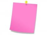 黄色のプッシュピンとピンクのメモ用紙のフレーム飾り枠イラスト