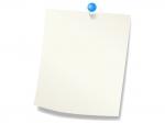 青いプッシュピンと白いメモ用紙のフレーム飾り枠イラスト