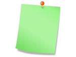 オレンジ色のプッシュピンと緑色メモ用紙のフレーム飾り枠イラスト