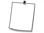 プッシュピンでとめたメモ用紙の白黒フレーム飾り枠イラスト