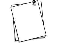 プッシュピンでとめたメモ用紙の白黒フレーム飾り枠イラスト02
